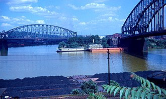 Point State Park - This is the Point in 1951 Pittsburgh showing the Point Bridge II (right) and the Manchester Bridge (left).