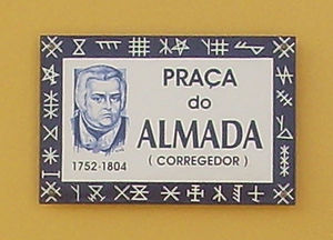 Praça do Almada - The Square's plate. The Square name honors an 18th-century politician that prompted Póvoa de Varzim's urban development in the late 1700s.