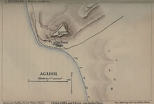 Agadir - Map of Agadir in 1885 by Jules Erckmann