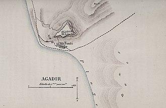 Agadir - Map of Agadir in 1885 by Jules Erckmann