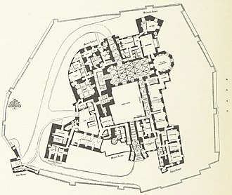 Raby Castle - A plan of the castle from J. D. Mackenzie's The Castles of England: their story and structure