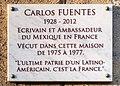 Plaque Carlos Fuentes, 20 avenue du Président-Wilson, Paris 16e.jpg