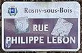 Plaque Rue Philippe Lebon - Rosny-sous-Bois (FR93) - 2021-04-15 - 1.jpg
