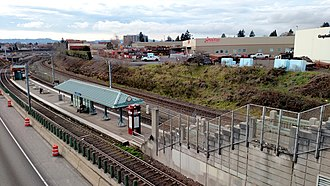 Northeast 60th Avenue station - The station viewed from the viaduct carrying 60th Avenue over the station and the Banfield Freeway