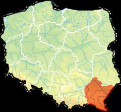 województwo podkarpackie na mapie Polski