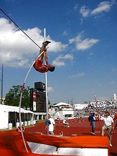 Pole vault Track and field event using a long pole as an aid to jump over a bar