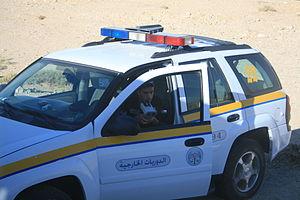 Police speed control near Petra, Jordan.jpg