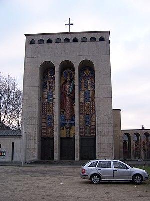 Frauenfriedenskirche - Entrance structure with mosaic
