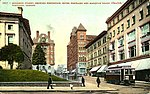 Portland, Oregon street scene showing the Post Office, Hotel Portland, the Marquam Grand Theatre and streetcar of the Montgomery (AL+CA 1749).jpg