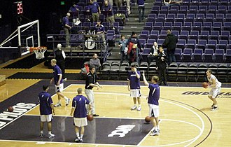 Portland Pilots - The Pilots men's basketball team warming up in the Chiles Center