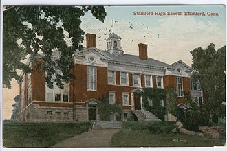 Stamford High School (Stamford, Connecticut) - Postcard from about 1910 of the school building on Forest Street
