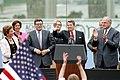 President Ronald Reagan gives a thumbs up at the Berlin Wall.jpg