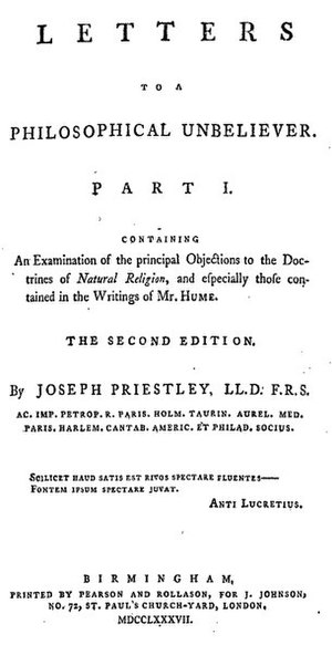 Letters to a Philosophical Unbeliever - Title page from Joseph Priestley's Letters