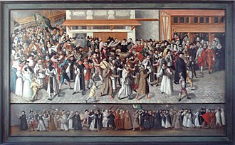Catholic League (French) - Procession de la Ligue dans l'Ile de la Cité by François II Bunel (1522-1599). Musée Carnavalet.