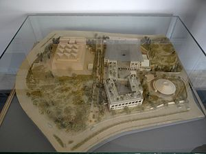 Israel Antiquities Authority - a model of the National Campus for the Archaeology of Israel built beside the Bible Lands Museum.