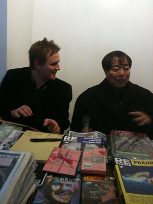 V. Vale - Indie publisher V. Vale (right) talks to fellow author Lorin Morgan-Richards (left), at ZineFest, Los Angeles, 2012.