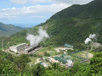 Geothermal power - A geothermal power station in Negros Oriental, Philippines.