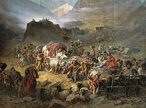 Circassian nationalism - The mountaineers leave the aul, by P. N. Gruzinskyy, 1872