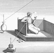 Persan fumant un Ghelyan sur une gravure du Chevalier Chardin, 1723.