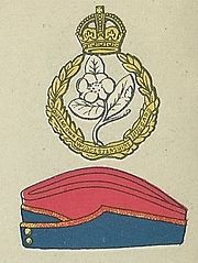 Queen's Own Worcestershire Hussars badge and service cap.jpg