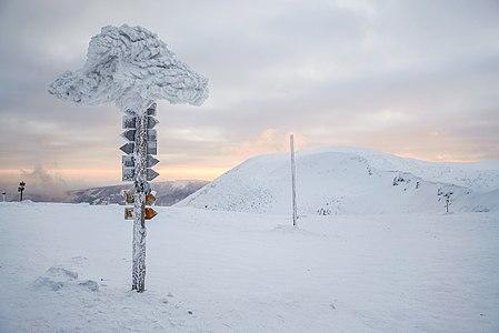 Równia pod Śnieżką, Krkonoše mountains - hiking signs