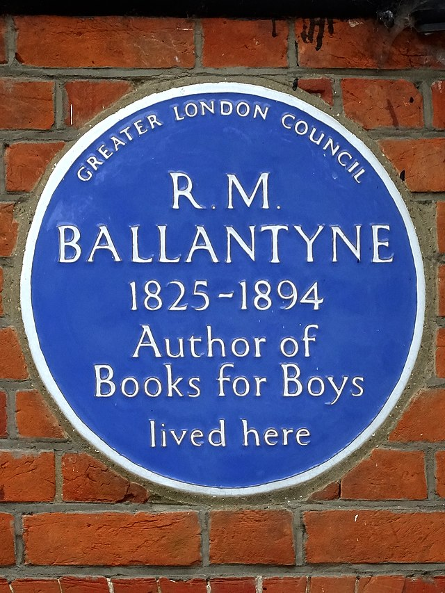 R. M. Ballantyne blue plaque - R. M. Ballantyne 1825-1894 author of books for boys lived here