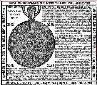 Richard Warren Sears - R.W. Sears Watch Co. advertisement, 1888