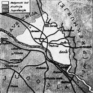 Bad Radkersburg - Austrian Radkersburg Corner, 1926 map