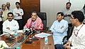 """Radha Mohan Singh addressing the media at the launch of the 2 Web-portals """"Crop Insurance"""" & """"Now Cast"""", in New Delhi. The Ministers of State for Agriculture.jpg"""