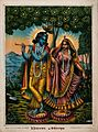 Radha and Krishna on separate lotuses. Chromolithograph. Wellcome V0045038.jpg