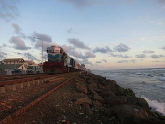 Coastal line (Sri Lanka) - A train running on the coastal line