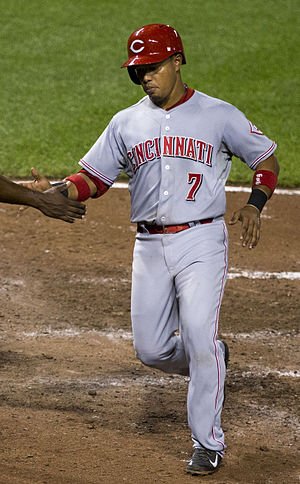 Ramón Santiago - Santiago playing for the Cincinnati Reds in 2014