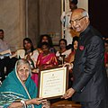 Ram Nath Kovind presenting the Nari Shakti Puruskar for the year 2017 to Dr. Sindhutai Sapkal (cropped).jpg