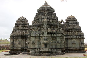 Kedareshvara Temple, Balligavi - Rear view of trikuta (three shrines with three towers) in Kedareshvara temple at Balligavi