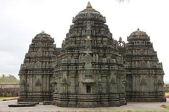 Kedareshvara Temple, Balligavi - Rear view of trikuta (three shrines with three towers) in Kedareshvara temple at Balligavi