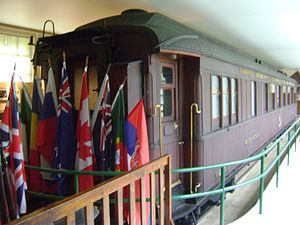 Armistice of 22 June 1940 - A reproduction of the wagon where the Armistice of 22 June 1940 was signed between Germany and France, and where the Armistice of 11 November 1918 was signed between Germany and the Allies, at the museum Clairière de l'Armistice (Rethondes).