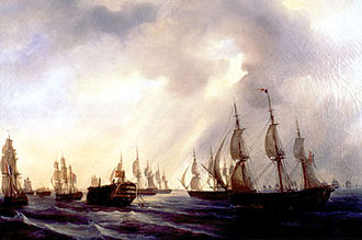 Painting depicting the French frigate Themis towing the re-taken Spanish first-rate ship of the line Santa Ana into Cadiz. Auguste Mayer, 19th century. Retour a Rota Mayer.jpg