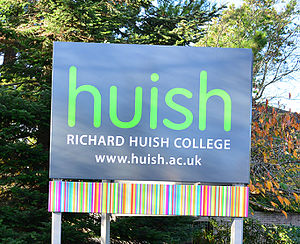 Richard Huish College, Taunton - Richard Huish College Front Sign, December 2015