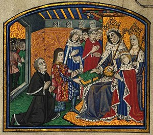 Anthony Woodville, 2nd Earl Rivers - Anthony Woodville (kneeling, second from left, wearing a tabard displaying his armorials) and William Caxton (dressed in black) presenting the first printed book in English to King Edward IV