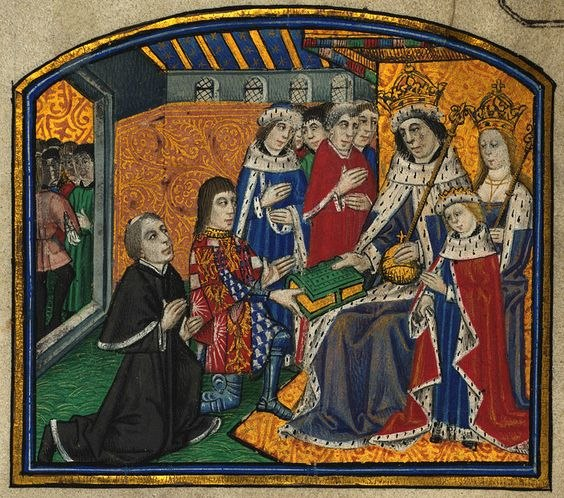 Rivers & Caxton Presenting book to Edward IV