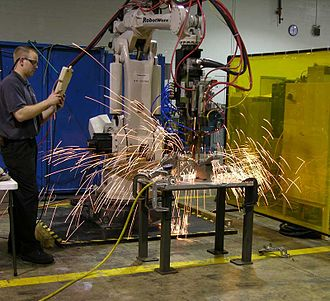 Spark (fire) - Sparks from spot welding robot