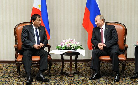 Duterte meets with Russian President Vladimir Putin during the APEC summit in Lima, Peru, November 19, 2016. Rodrigo Duterte with Vladimir Putin, 2016-02.jpg