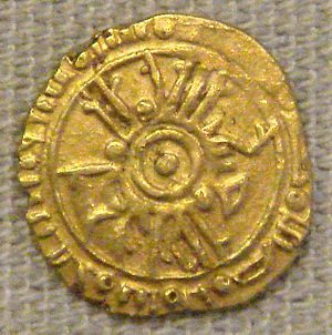Norman-Arab-Byzantine culture - Tarì gold coin of Roger II of Sicily, with Arabic inscriptions, minted in Palermo, (British Museum)