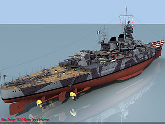 Littorio-class battleship - Note the extent of the armored belt at the waterline, amidships