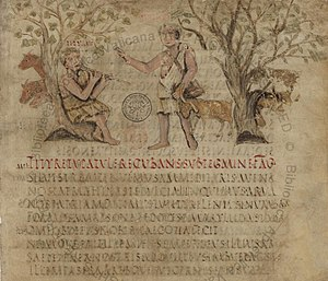 Virgil - Page from the beginning of the Eclogues in the 5th-century Vergilius Romanus
