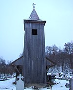 Romania Mures Petelea wooden church bell tower 16.jpg