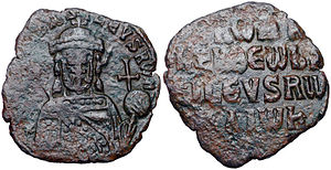 Basileopator - Bronze follis of Romanos Lekapenos, one of the two basileopatores in Byzantine history.