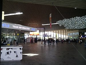 Nederlandse Spoorwegen - The main hall of Rotterdam Central, with information desk