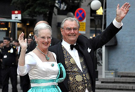 Queen Margrethe II and her consort, Prince Henrik, in 2010. Royal Wedding Stockholm 2010-Konserthuset-421.jpg