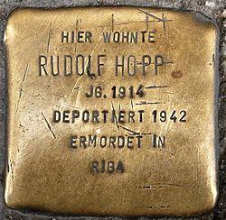 Photo of Rudolf Hopp brass plaque